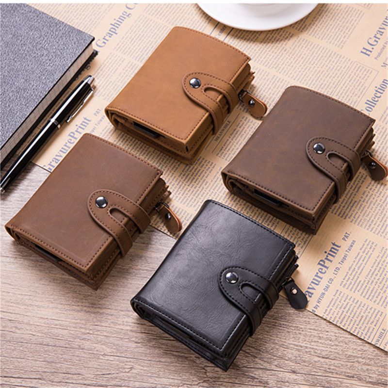 BISI GORO PU Leather Credit Card Holder Fashion Men Women Multifunctional Metal RFID Fashion Aluminium Box Travel Card Wallet in Card ID Holders from Luggage Bags