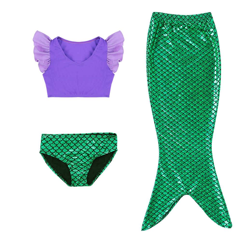 3PCS Toddler Girl Kids Swimmable Swimwear Mermaid Tail Set Swimsuit Beachwear