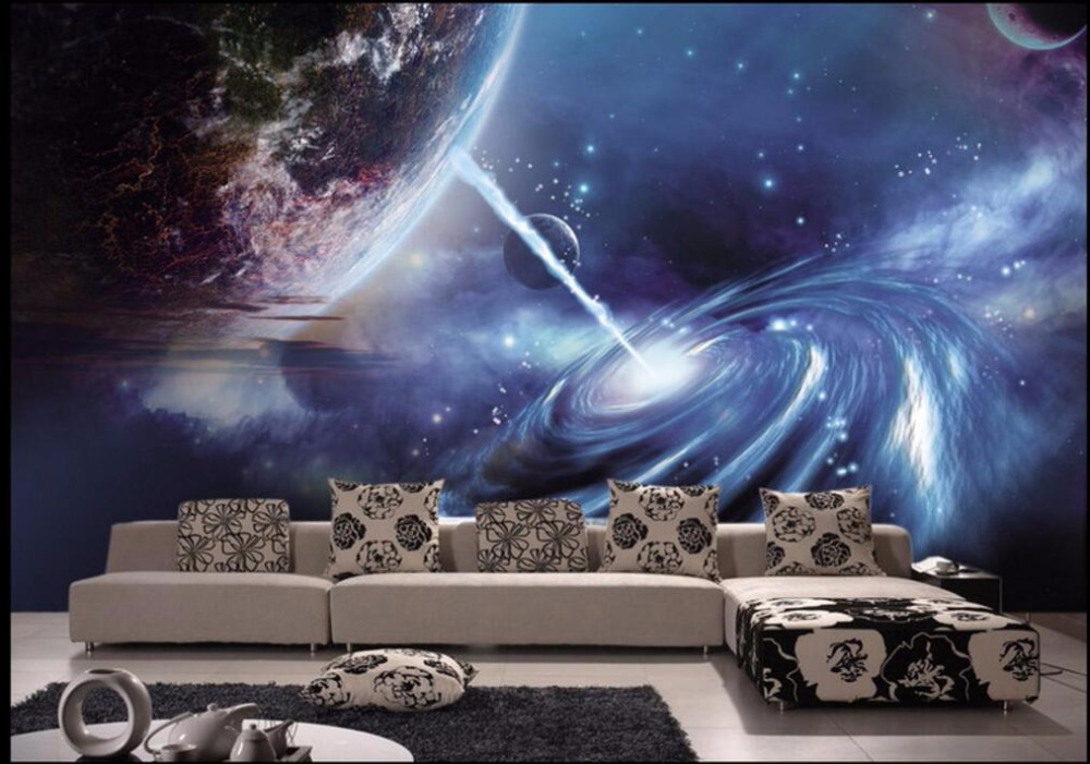 Custom mural 3d wallpaper photo universe planet in outer space decor painting 3d wall murals wallpaper for living room walls 3 d custom soft fleece throw blanket apartment decor outer space nebula galaxy stars mars jupiter with a tree on a planet print