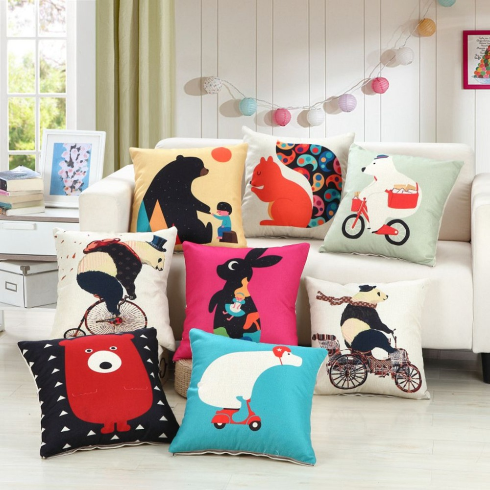 Cartoon Panda Bear Rabbit decoratieve kussensloop Home textiel - Thuis textiel