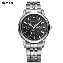 BOSCK famous watches quart watch design sport steel clock top quality military men male luxury Metal watchband 1131