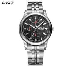 BOSCK famous watches quart watch design sport steel clock top quality military men male luxury Metal watchband 1131