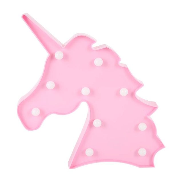Unicorn Head Lamp Led Night Light Animal Marquee Lamps On Wall For Children  Bedroom Party Wedding