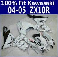 Белый черный кузов наборы для Kawasaki Ninja ZX10R 2004 2005 04 05 обтекатели ABS palstic 100% Fit обтекатель комплект x94