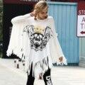 Панк череп футболка женская весна персонализированные белый негабаритных batwing рукавом нерегулярные кисточкой punk clothing