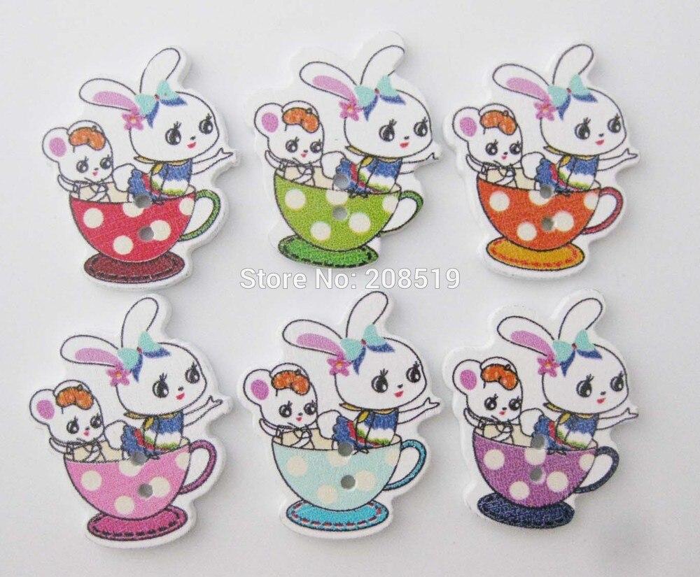 Lapin forme Boutons Enfants Crafts bébé couleurs Packs de 6 ou 12 BOUTONS
