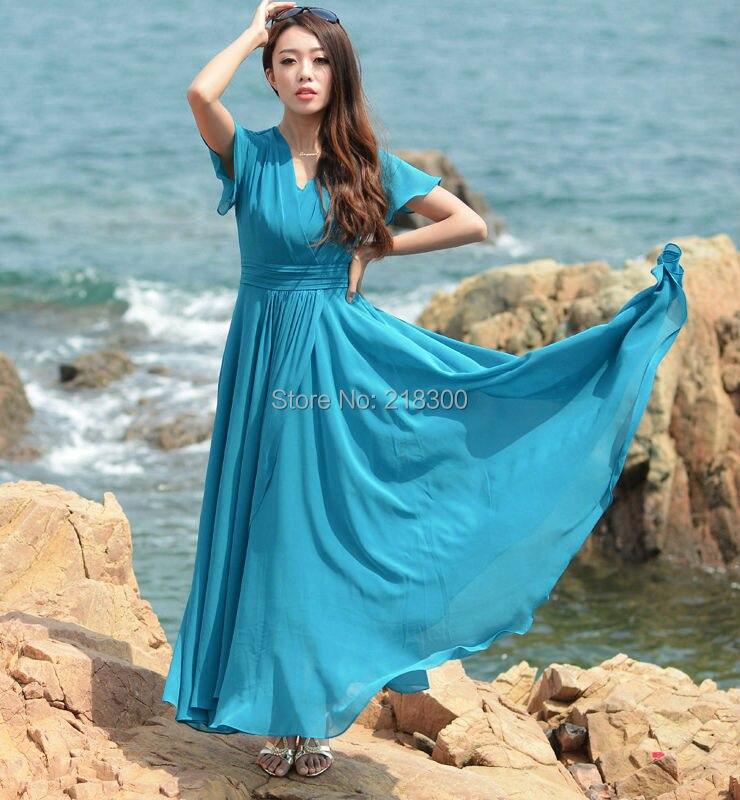 63ca4da672a9 Aqua Blue Chiffon Maxi Dress Short Sleeves Holiday Dress Beach Dresses  Ankle Length