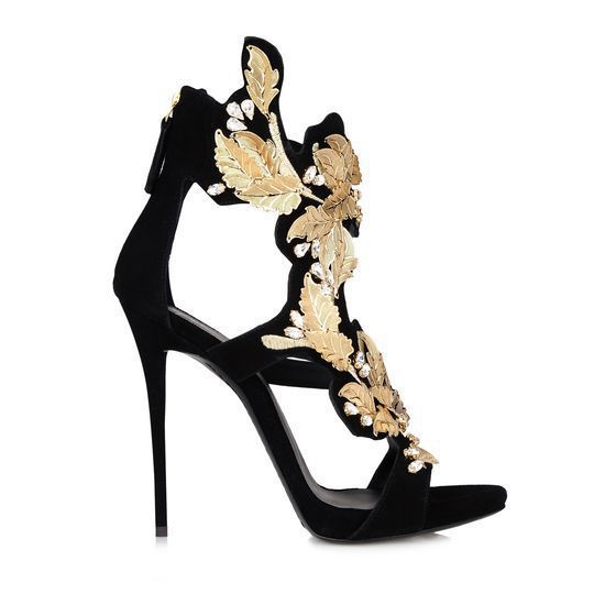 4a47873d8a3c New design hot sale women s high heel sandals women black gold leaf suede  leather wedge pumps flame sandals shoes for women -in Ankle Boots from Shoes  on ...