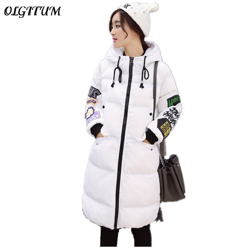 S-3XL Newest Style Winter Women Down cotton coat Large Size long section letter print overcoat Hooded Parka Loose warm Outwear winter new women loose coat fashion cute parkas hooded jacket overcoat long section casual down cotton large size coat cm1560