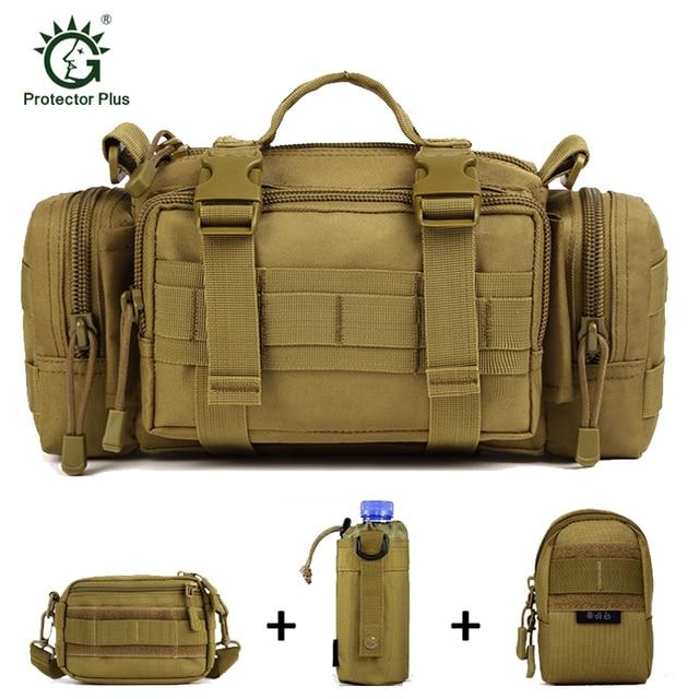 Men Outdoors Military Waist Shoulder Pack Bag + 3 Molle Small Pouches,Outdoors Tactics Gear Combo Bundle,Military Waist Bag