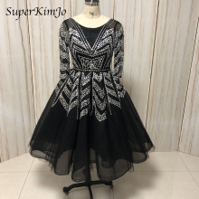 real picture prom dresses vestidos de fiesta 2019 crew neckline black evening short dress beaded