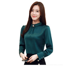 Women Shirts Blouse OL Tops and Blouses Casual Silk Long Sleeve For Woman Korean Spring Female Top Plus Size