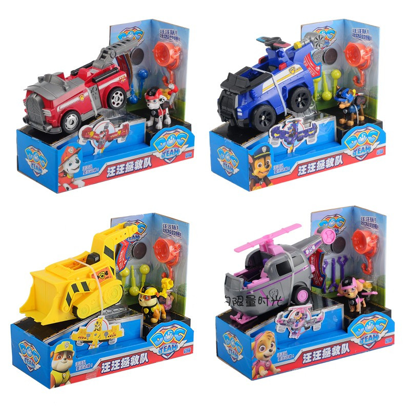 Paw Patrol toys set Anime Figurine Paw Patrol Action Figure car toys Can Have Fun With This 2 in 1 Vehicle toy in Action Toy Figures from Toys Hobbies