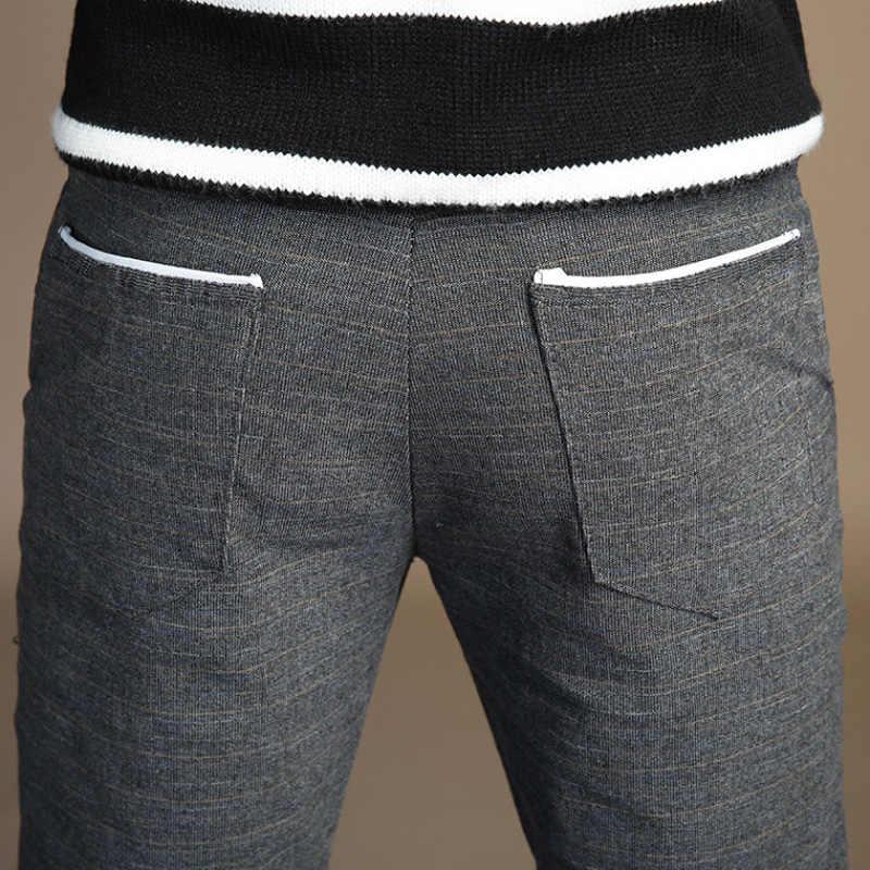 HCXY 2019 весенние классические высокое качество Для Мужчин's Повседневное Брюки Полная длина Для мужчин s платье в деловом стиле Slim Jogger стрейч Длинные брюки для мальчиков