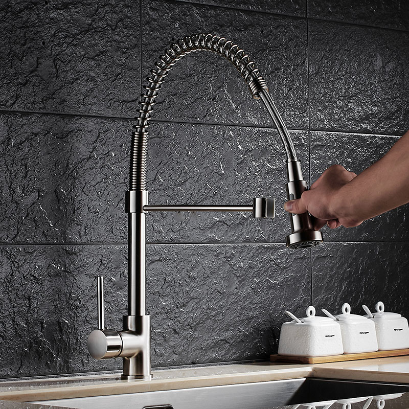 Pull Out Kitchen Faucet Nickel Brass Pull Out Spring Kitchen Sink Faucet Swivel Spout Tall Vessel Mixer Tap Torneira Cozinha brushed nickel double handles spray stream brass water kitchen swivel spout pull out vessel sink deck mounted mixer tap faucet