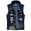 Summer  Korean version of the Slim Patch denim vest fashion Slim men's casual denim vest solid color denim waistcoat jacket 80