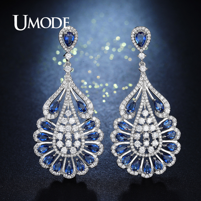 UMODE Fashion Big Water Drop Dangling Earrings for Women Blue CZ ...