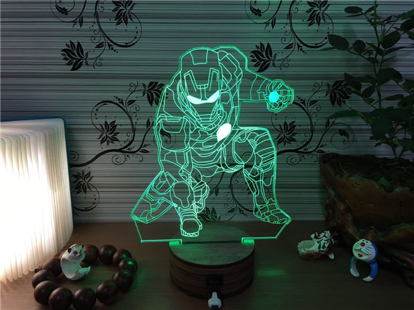 3D Iron Man Lamp Marvel Table/Desk Decor Lights Kids Sleeping Night Light  Wood Stand Base USB Charge Colorful Lampe In Night Lights From Lights U0026  Lighting ...