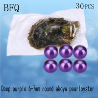 BFQ Fine Jewelry Deep Purple 6 7mm Round Akoya Pearls In Oysters And Vacuum Packing 30pcs