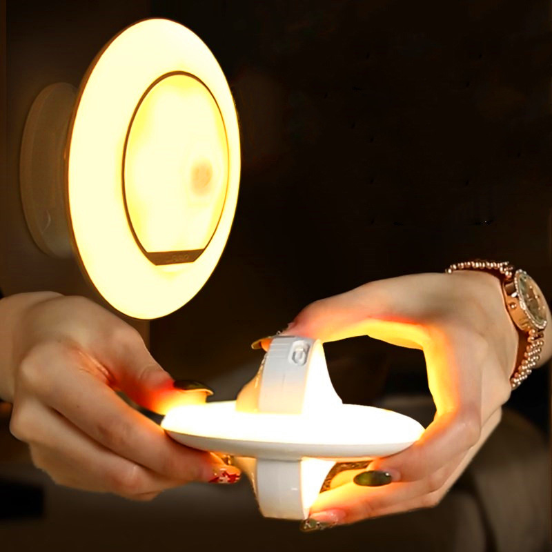 USB Rechargeable Motion Sensor Night Light UFO Infrared Human Body Induction 360 Degree Rotation Intelligent Creative Wall Lamp