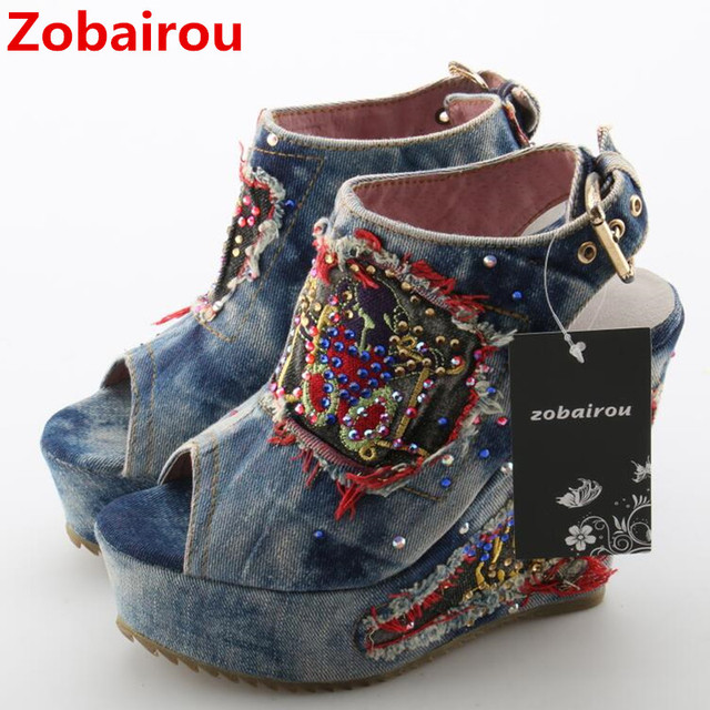 check out 3003a dc934 Desinger Schuhe Sommer High Heels mules Offene spitze Denim Blau jeans  Sandalen Luxus Marke Frau Keile Peep Toe Cowboy Knöchel stiefel