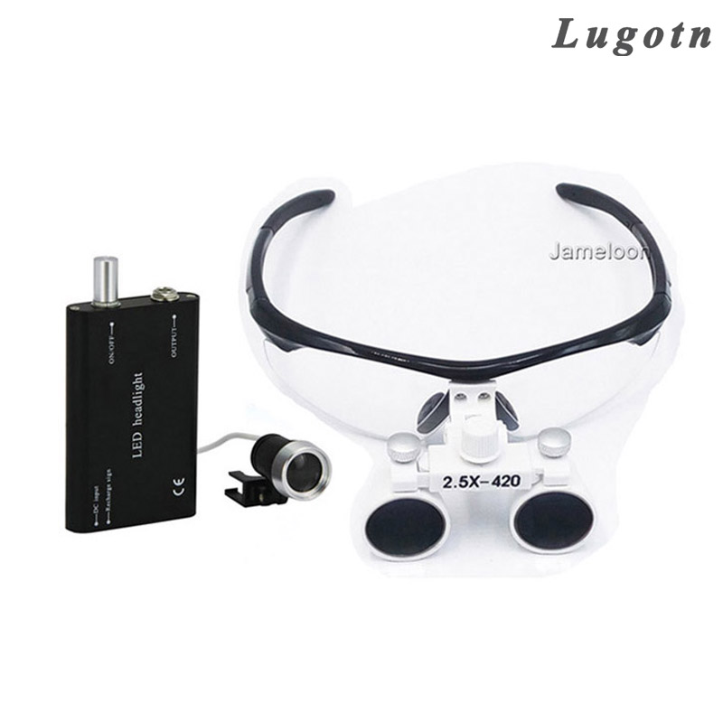 2.5X LED Light enlarge glasses surgical magnifying medical binocular loupes optical Dentist magnifier surgery loupe aluminium handheld monopod with tripod mount adapter for xiaomi gopro