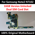 Teléfono abierto original placa madre para samsung note 2 n7102 16 gb con Chips de IMEI SIM Dual OS Toda la Tarjeta de la Placa Base En Todo El Mundo uso