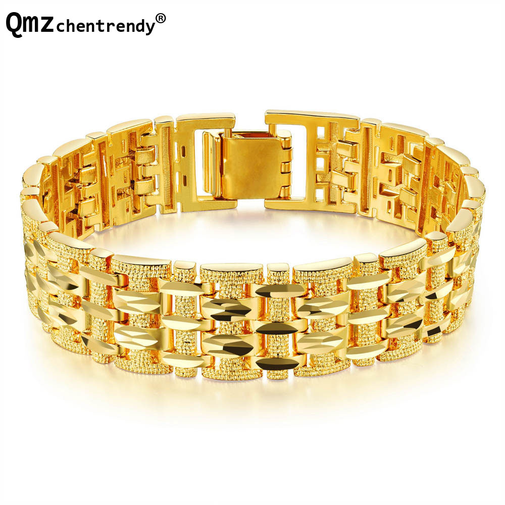 Hip hop 18 K Copper Gold Filled Watchband Design Bracelet Luxury Mens Fashions Hiphop Jewelry Bangles толстовка hiphop