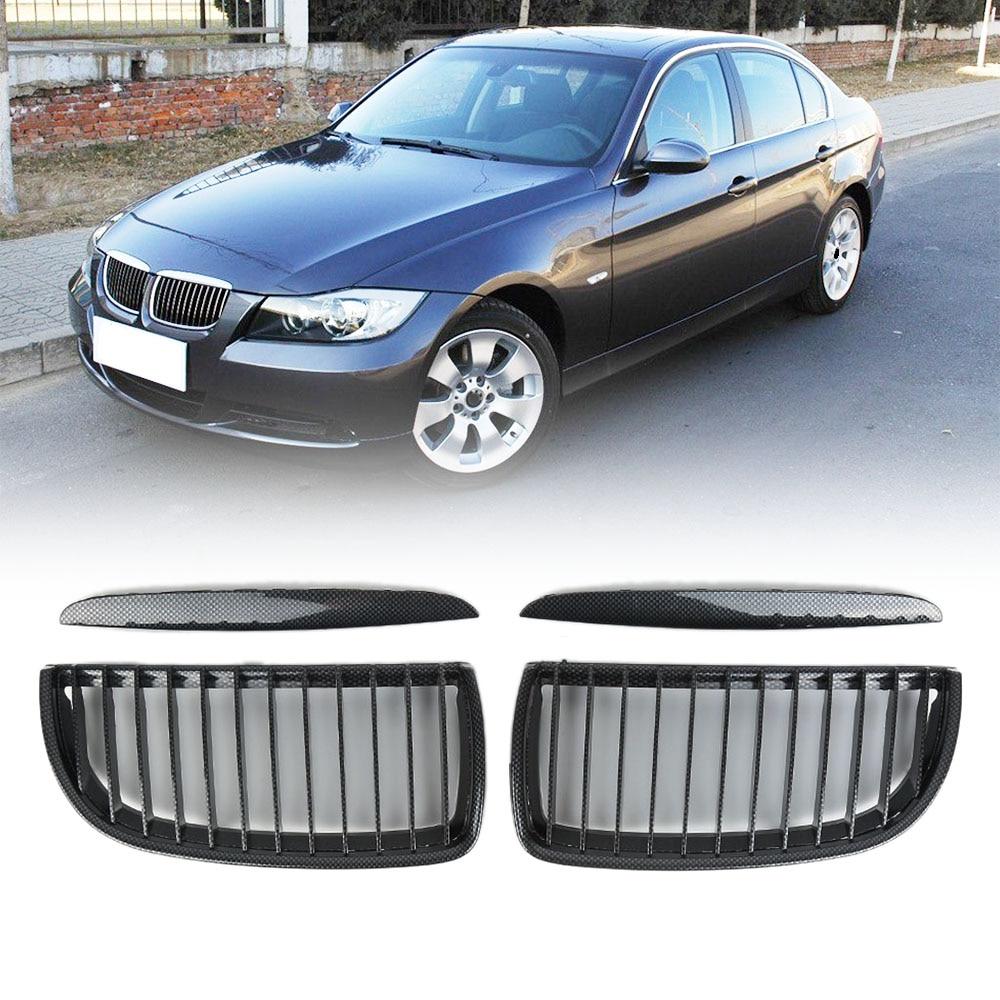 Liplasting 2Pcs Left&Right Carbon Fiber Kidney Grille Replacement for BMW E90 3 Series 05-08 Sedan Wagon car styling 2pcs left