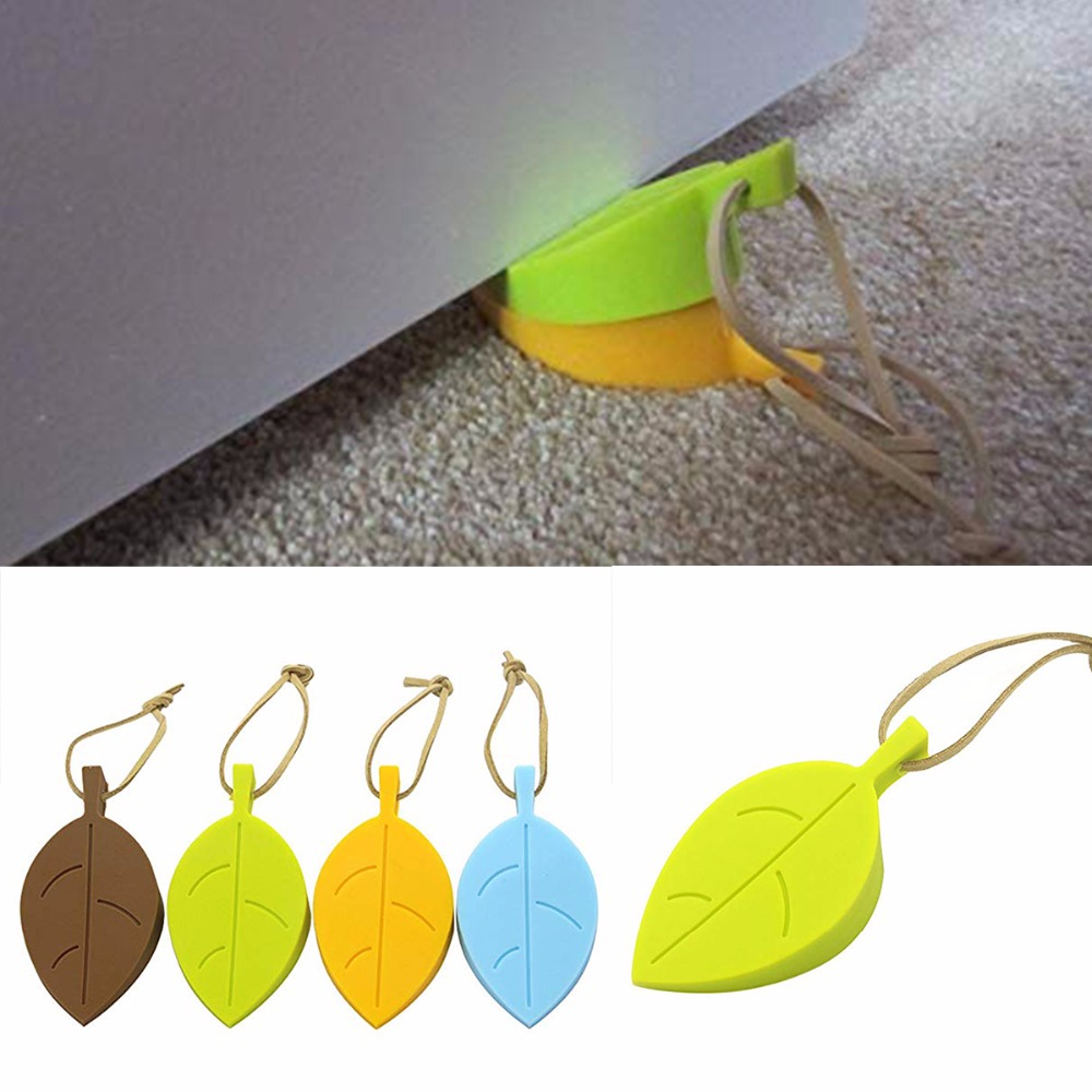 Nosii Leaf Shape Door Stopper Silicone Doorstop Baby Safety Non-Slip Buffer Stop Home Decor Wish Hanging String 50pcs new arrivel hot maple autumn leaf style home decor finger safety door stop stopper doorstop
