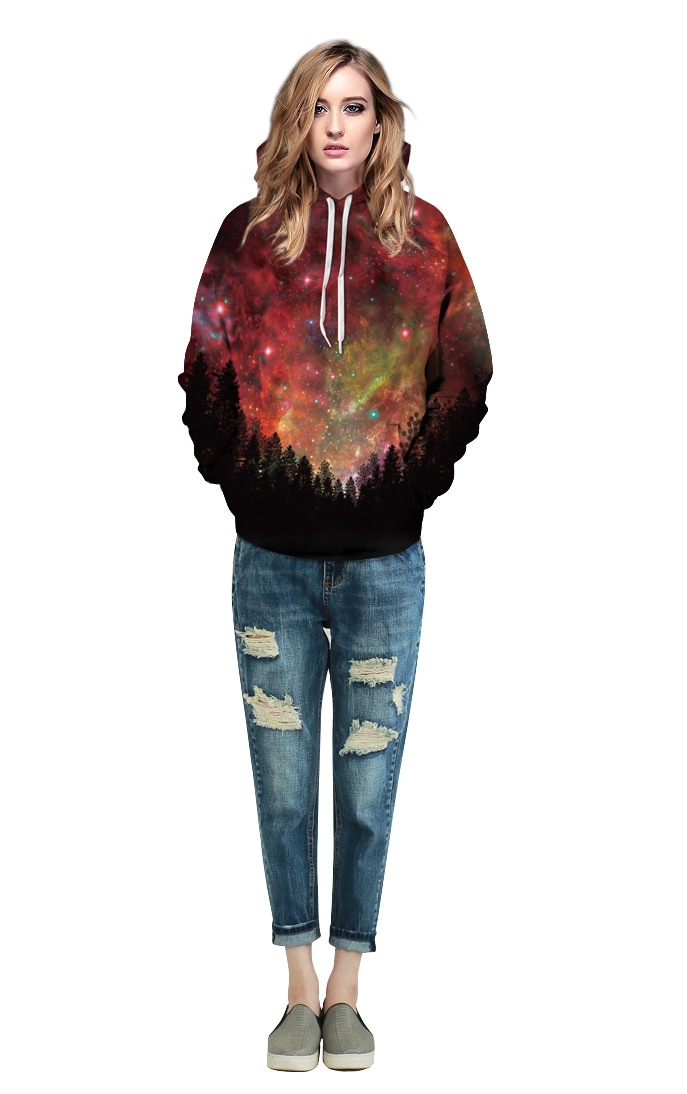 Echoine Men Dark Forest Printed Hoody Women Plus Size Galaxy Top 2017 New Autumn Winter Couples Lovers Hoodies Hooded Pullovers