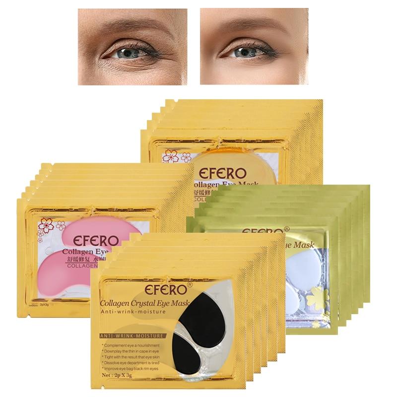 20/30/40/50Pair 24k Gold Crystal Collagen Eye Mask Anti Aging/Dark Circles/Puffiness Masks Gel Patches Pads EFERO