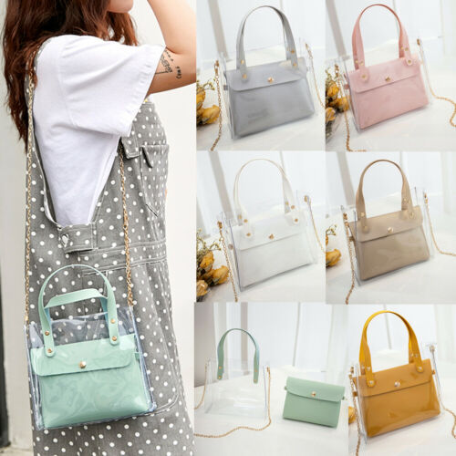 2019 Summer New Clear Transparent PVC Shoulder Bags Women Candy Color Women Jelly Bags Purse Solid Color Waist Packs