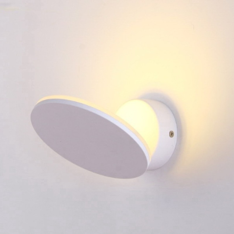 Modern Brief LED Round Plate Wall Lamp Wall Sconce Corridor Porch Light brief modern single head wall lamp indoor use porch light sconce corridor bedroom bedside lamp 220 e27 ceramic lamp shade