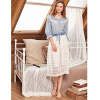Artka 2018 Summer New Female Stitching Washed Denim Bandage Waist Retro Lace Medium Long Skirt QA10089X