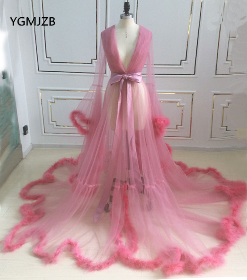 Robe De Soiree Elegant Evening Dresses Long 2018 V Neck Feathers Pink Sexy See Through Formal Party Evening Gowns Prom Dress