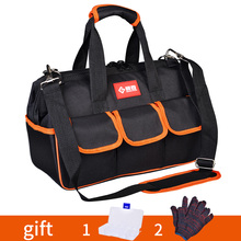 """Tool bag 12"""" 17"""" 19"""" Thicken 1680D Oxford Cloth Work bag Top Wide Mouth Professional Electrician Toolkit bags Tool Organizer"""
