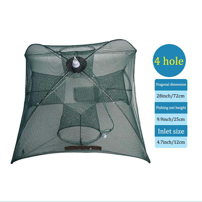 Portable Fishing Net Nylon Automatic Foldable Catch Fish Baits Trap For  Fishes Shrimp Minnows Crab Cast Mesh ALS88