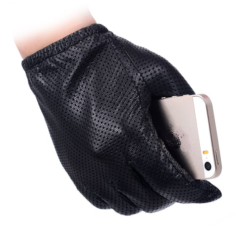 Men Fashion Gloves Genuine Sheep Leather Gloves Short Design Touch Screen Real Leather Gloves Mesh Driving