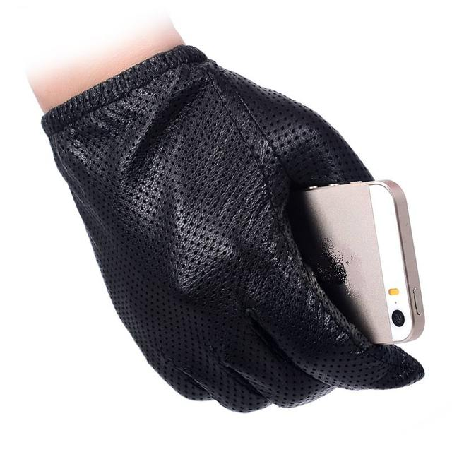 7370d6a9f0ffa Men Fashion Gloves Genuine Sheep Leather Gloves Short Design Touch Screen  Real Leather Gloves Mesh Driving Gloves LG024