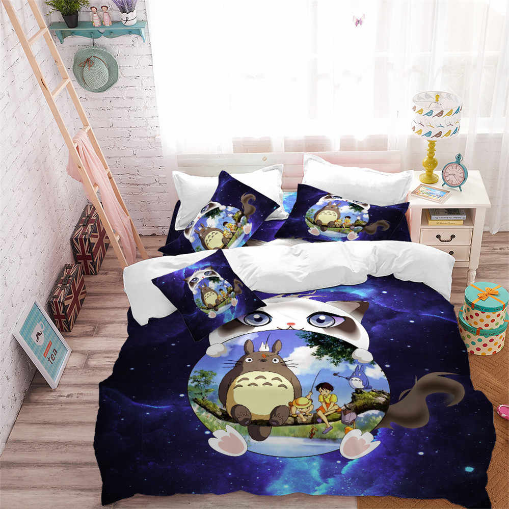 3D Cartoon Bedding Set White Cat Totoro Design Duvet Cover Set Purple Galaxy Bedding Child Natural Scenery Bedclothes 3Pcs D49