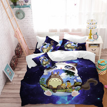 3D Cartoon Bedding Set White Cat Totoro Design Duvet Cover Purple Galaxy Child Natural Scenery Bedclothes 3Pcs D49
