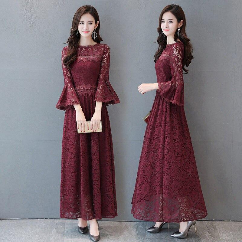 Новинка размера плюс 4XL 5XL модное сексуальное кружевное платье для женщин Vestidos Весна Осень Макси длинное платье Элегантное Вечернее Платье