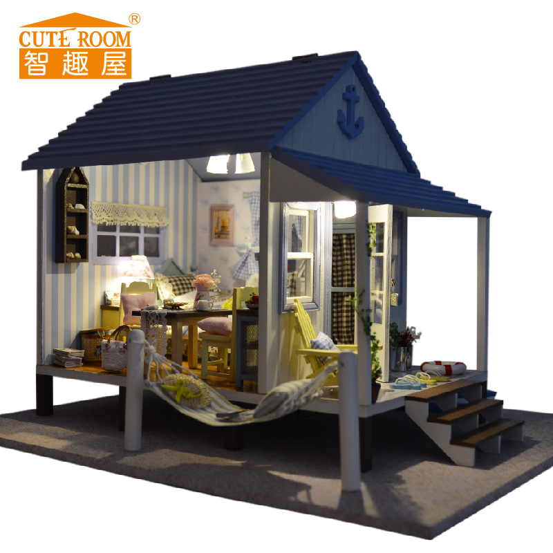 Doll House Furniture Diy Building model Wooden miniature Dollhouse Puzzle Toys for Children Birthday Christmas Gifts Happy coast miniature house shape diy art 3d jigsaw puzzle