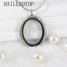 Овальный плавающий медальон кулон длинное ожерелье стразы Подвески