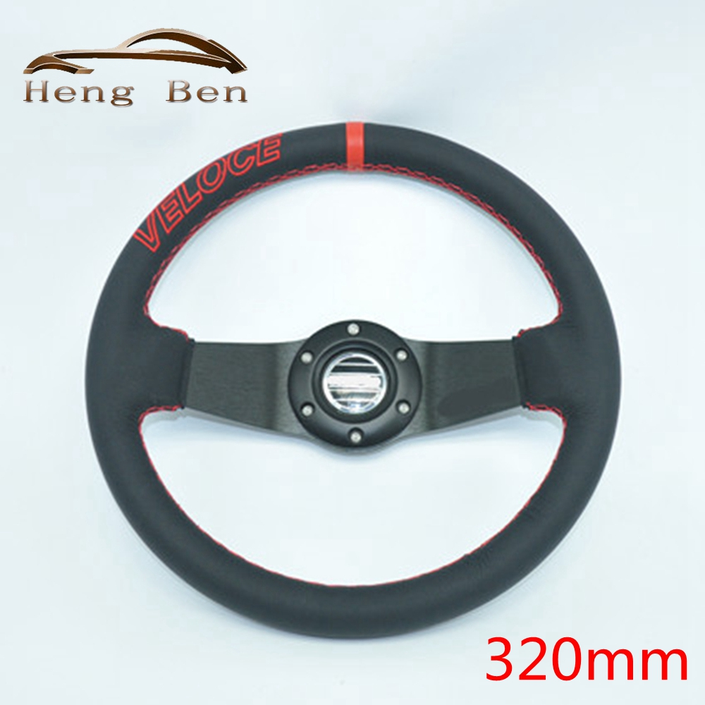 HB High Quality Universal Fits SPCO Racing Sport 320mm PU Leather Deep Dish Alloy Steering Wheel 5163