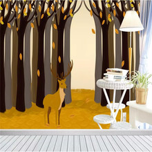 цена Custom 3d wallpaper abstract autumn forest cartoon animal living room bedroom room wall high-grade waterproof material