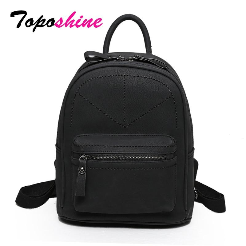 Toposhine Retro Backpack Women PU Leather Bag Women Bag Medium Women Backpack Mochila Feminina School Bags For Teenagers 1591