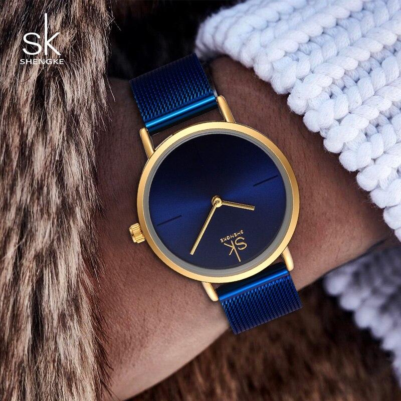 все цены на SK Watch Women Fashion Steel Quartz Watches Bracelet Clock Relogio Feminino 2017 Creative Ladies Wrist Watches For Women #K0043 онлайн