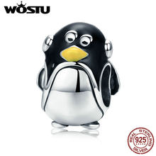 WOSTU Hot Sale 100% Real 925 Sterling Silver Lovely Penguin Beads fit Original Charm Bracelet Silver Jewelry Gift FIC556(China)